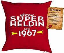 zum 51. Geburtstag Geschenkidee Kissen mit Füllung Super Heldin seit 1967 Polster zum 51 Geburtstag für 51-jährige Dekokissen mit Urkunde