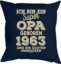zum 55 Geburtstag Geschenkidee Kissen mit Füllung super Opa geboren 1963 Polster zum 55. Geburtstag für 55-jähirge Dekokissen