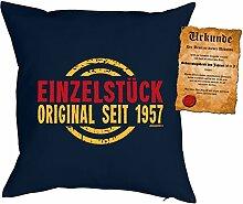 zum 60. Geburtstag Geschenkidee Kissen mit Füllung Einzelstück Original seit 1957 Polster zum 60 Geburtstag für 60-jährige Dekokissen mit Urkunde