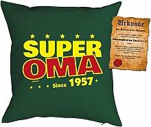 zum 60. Geburtstag Geschenkidee Kissen mit Füllung Super Oma since 1957 Polster zum 60 Geburtstag für 60-jährige Dekokissen mit Urkunde