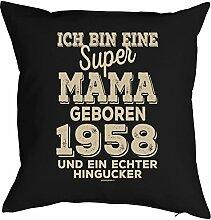 zum 60. Geburtstag Mama Geschenk für Sie Frau Deko Kissenbezug MAMA HINGUCKER Aufdruck Jahrgang geboren 1958 Geb. Kissenhülle 40x40 cm : )