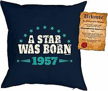 zum 61. Geburtstag Geschenkidee Kissen mit Füllung A Star was born 1957 Polster zum 61 Geburtstag für 61-jährige Dekokissen mit Urkunde