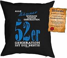 zum 65. Geburtstag Geschenkidee Kissen mit Füllung Männer 52er Generation Polster zum 65 Geburtstag für 65-jährige Dekokissen mit Urkunde