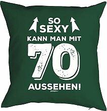 zum 70. Geburtstag Geschenkidee Kissen mit Füllung sexy kann man mit 70 aussehen! Polster zum 70 Geburtstag für 70-jährige Dekokissen für Opa für Oma