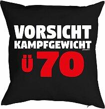zum 70. Geburtstag Geschenkidee Kissen mit Füllung Vorsicht Kampfgewicht Ü 70 Polster zum 70 Geburtstag für 70-jährige Dekokissen für Opa für Oma