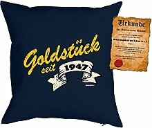 zum 71. Geburtstag Geschenkidee Kissen mit Füllung Goldstück seit 1947 Polster zum 71 Geburtstag für 71-jährige Dekokissen mit Urkunde