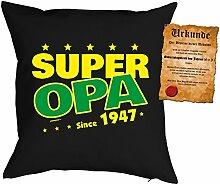 zum 71. Geburtstag Geschenkidee Kissen mit Füllung Super Opa since 1947 Polster zum 71 Geburtstag für 71-jährige Dekokissen mit Urkunde
