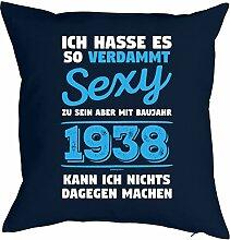 zum 80. Geburtstag Geburtstagsgeschenk für Sie und Ihn Mann Frau Deko Kissen mit Innenkissen VERDAMMT SEXY Print Jahrgang geboren 1938 Geschenk 80 Jahre alt : )