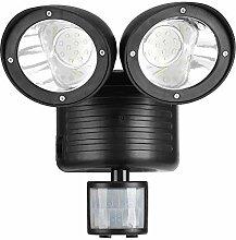 Zunate Solar-Strahler,Doppelkopf Lampe Solar Power