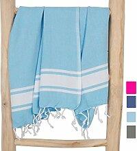 ZusenZomer Hamamtuch XXL Sol 100x200 Türkis - Fouta Hammam Badetuch groß 100% Baumwolle Handgewebt - Hamam Tücher Exklusives Design (Blau)