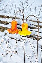 Zwei 17 cm grossen Gartenkugeln in Blüte / Blüten / Tulpenform WINTERFEST & ROBUST und in rot-orange + orange-gelb farblichem Design, 125 cm mit Metallstab Rosenkugel gartenkugel, Sonnenfänger-Kugel, Sonnenfänger-Scheibe, Sonnenfängerscheiben, Gartendeko FROSTSICHER, lichtbeständig und WINTERFEST, Rosenkugeln Winter Glas Deko Garten Schäferstab Metallstiel Bogenstab gross