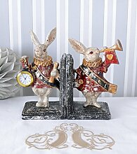 Zwei Buchstützen Alice im Wunderland Buchständer Weisses Kaninchen Palazzo Exclusive