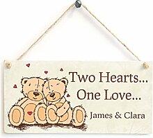 Zwei Herzen One Love...–Persönlicher Romantische Anniversary Valentines Holzschild Geschenk