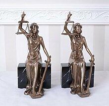 Zwei Justitia Figuren Buchstützen Anwaltskanzlei Buchständer Vintage Palazzo Exklusiv