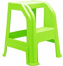 Zwei Schritte Leiter Hocker 2-Stufen-Haushalt rutschfeste Kunststoff Trittbrett Autowaschleiter Dual-Use Indoor (Farbe : Leuchtendes Grün)