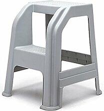 Zwei Schritte Leiter Hocker 2-Stufen-Haushalt rutschfeste Kunststoff Trittbrett Autowaschleiter Dual-Use Indoor (Farbe : Grau)
