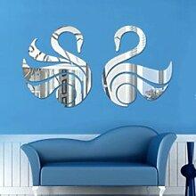 Zwei Schwan Spiegel Wandaufkleber Wohnzimmer Kinderzimmer Hintergrund Dekorative,Silver-90*57cm