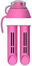 Zwei Wasserfilterkartuschen für PearlCo Filterflasche (pink) + gratis Deckel