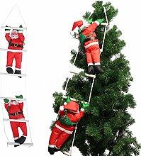 Zwei Weihnachtsmann Klettern auf Strickleiter für Weihnachtsbaum Indoor Outdoor Hängenden Ornament Decor Weihnachten Xmas Party Home Tür Wand Dekoration