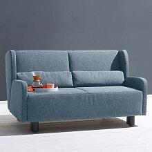 Zweier Sofa in Blau Webstoff Schlaffunktion