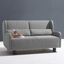 Zweier Sofa in Grau Webstoff Schlaffunktion
