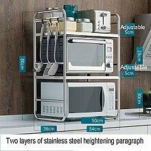 Zweifach erhöhtes Küchenregal aus Edelstahl für