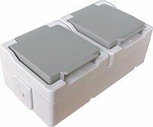 Zweifach Schukosteckdose horizontal / waagerecht IP44 Feuchtraum Doppelsteckdose mit Klappdeckel spritzwassergeschützt Aufputz System: STERA