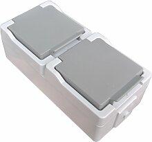 Zweifach Schukosteckdose vertikal / senkrecht IP44 Feuchtraum Doppelsteckdose mit Klappdeckel spritzwassergeschützt Aufputz System: STERA
