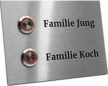 Zweifamilienhaus Klingelplatte Frankfurt 140 x 100 X 3mm V2A Edelstal kostenlose Lasergravur (LED orange)