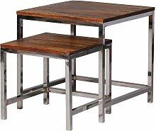 Zweisatztisch aus Sheesham Massivholz Metall verchromt (2-teilig)