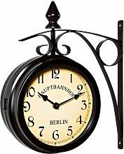 Zweiseitige Bahnhofsuhr - Wanduhr Uhr Retro Antik