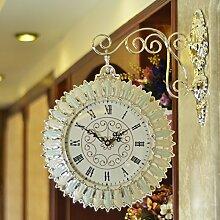 Zweiseitige wanduhr Wohnzimmer ideen stumm wanduhr Moderne persönlichkeit wand Clock Dekoration-D