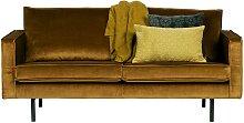 Zweisitzer Sofa im Retrostil Samt in Honigfarben