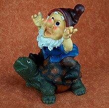 Zwerg, Gnome. Polyresin. Gartenzwerg reitend auf