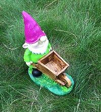 Zwerg grün Schubkarre Wichtel Figur Gartenzwerg Gnom Dekofigur 41cm NEU