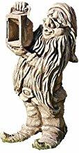 Zwerg mit Lampe, Gnom, Wichtel, Figur aus Steinguss, Gartenzwerg