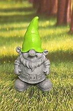 Zwerg stehend grau grün Dekofigur Gnom Wichtel Figur