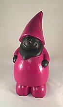 Zwerg Wichtel stehend pink-schwarz Dekofigur Gartendeko