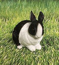 Zwerghase Hase schwarz weiß Dekofigur Gartendeko Figur