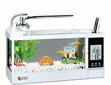 ZWF® Mini LED Leuchten Kalender Temperatur Feuchtigkeit Desktop Aquarium Aquarium Pflanze Steine ??1,5 Liter 2 Liter 2,5 Liter , white , l