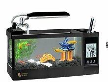 ZWF® Mini LED Leuchten Kalender Temperatur Feuchtigkeit Desktop Aquarium Aquarium Pflanze Steine 1,5 Liter 2 Liter 2,5 Liter , black , S