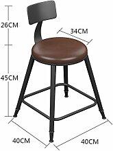 ZWL Bügeleisen Massivholz Bar Hocker Bar Stuhl, Hocker Restaurant Stuhl Empfang Hochstuhl Stuhl Stuhl Stuhl Stuhl Stuhl Moderne Einfache Rundschreiben Mode ( Farbe : #1 , größe : 45 cm )