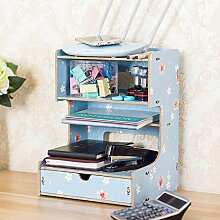 ZWL Büro Multifunktions-Tisch-Aufbewahrungsbehälter-Büro-Versorgungsmaterialien Ablage Regal-Speicher-Zahnstange Telefon-Regal-Regale Fashion. z ( Farbe : D )