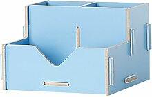 ZWL Büro-Schreibtisch-Aufbewahrungsbehälter-Büro-Versorgungsmaterialien Trümmer-Speicher-Regal-Regal-Behälter Fashion. z ( Farbe : Blau )