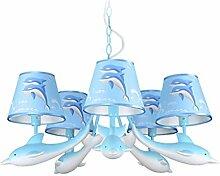 ZWL Dolphin Kronleuchter Lichter, kreative Led Kind Schlafzimmer Lichter Jungen und Mädchen Cartoon Dolphin Deckenleuchte Kindergarten Klassenzimmer Dekoration Lampen Und Laternen 5 Kopf E14 Blue Pink mode. ( größe : A )