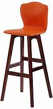 ZWL Einfache Massivholz Bar Hocker, High-back Stuhl Bar Counter Hochstuhl Café Laden Hocker Haushalt Freizeit Stuhl Restaurant Shop Kassierer Hochstuhl 65-74cm Mode ( Farbe : #1 , größe : 74cm )