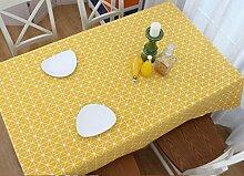 ZWL Gelb Tischdecke Stoff Leinen Gitter Rechteck
