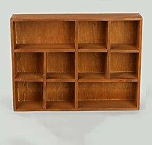 ZWL Hölzernes Regal, Retro Einfache Wohnzimmer Study Schlafzimmer Desktop Multifunktionale Aufbewahrungsbox 10/11 Gitter Kleine Schrank 39.5cm * 7.5cm * 29.5cm Fashion. z ( Farbe : A )