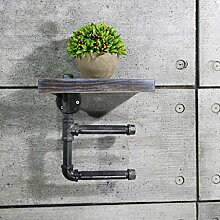 ZWL Industrielle Windwasserrohre Papierhandtuchhalter Eisen WC Rack Regal Wand hängt an der Wand Badezimmer Holzplatte 30 * 15cm Fashion. z ( Farbe : #1 )