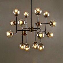 ZWL Iron Chandelier, Creative Loft Industrial Winds Restaurant Cafe Glas Lampenschirm Bar Dekoration Lampen Und Laternen 8-16 Kopf E27 Lichtquelle mode. ( größe : 95*120cmc )